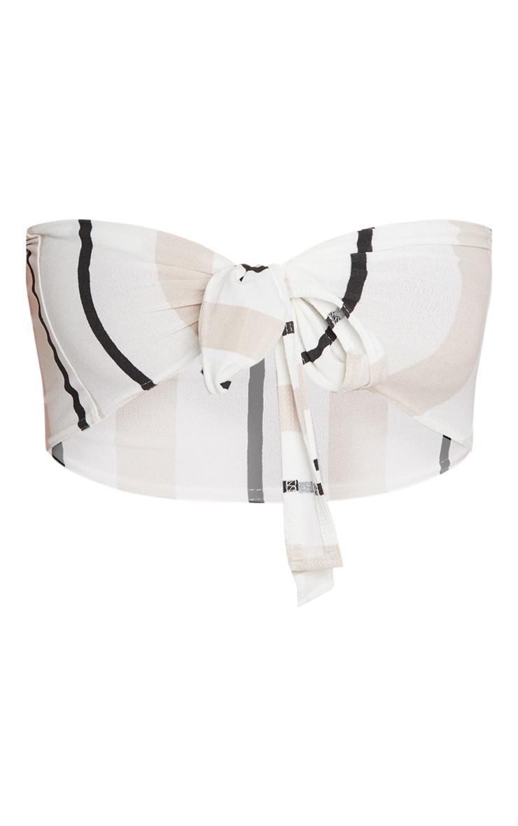 White Stripe Crepe Tie Front Crop Top 3