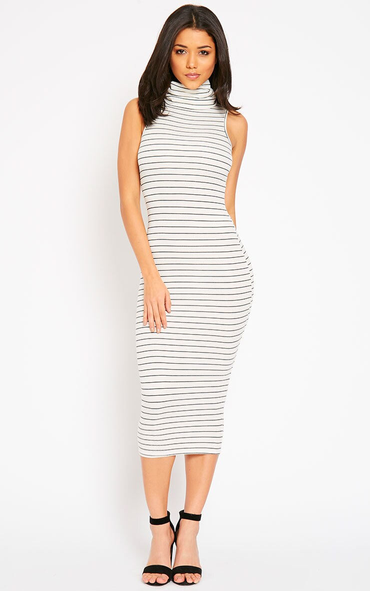 Felice Cream Stripe Roll Neck Dress 4