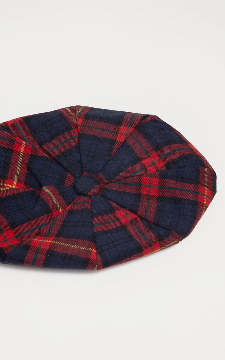 Red and Navy Tartan Beret 3