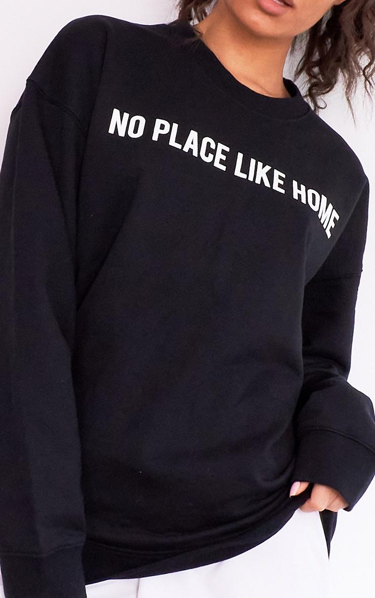 Black No Place Like Home Slogan Sweater 4