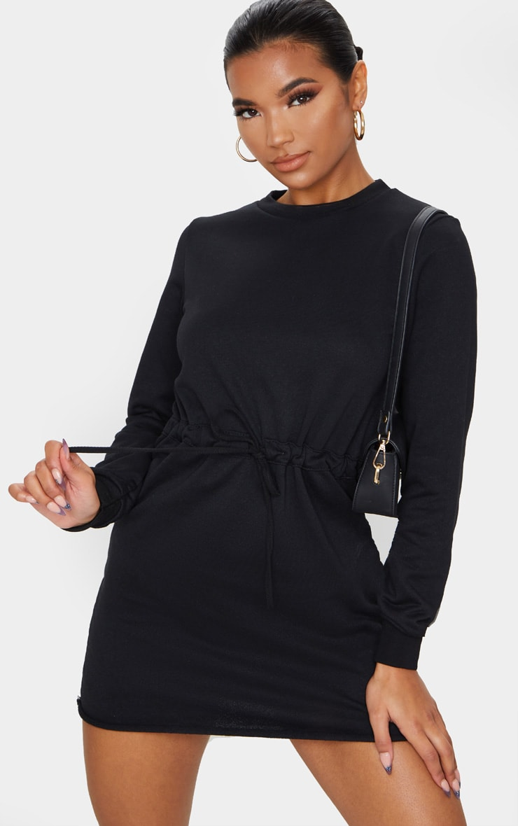 Suzanne Black Tie Waist Sweater Dress 1