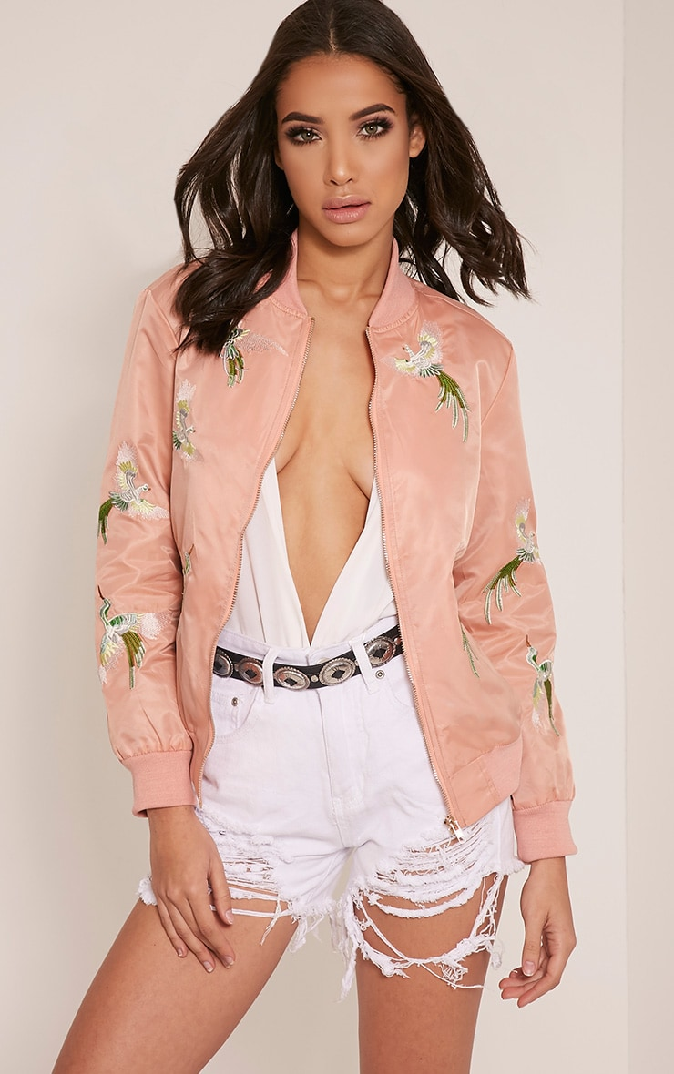 Pippah Nude Embroidered Detail Bomber Jacket 1