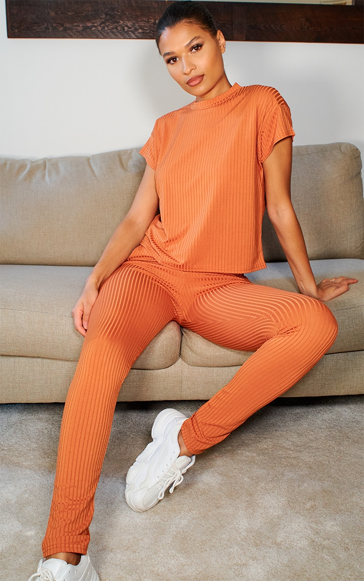 Burnt Orange Rib T Shirt & Joggers Set 1