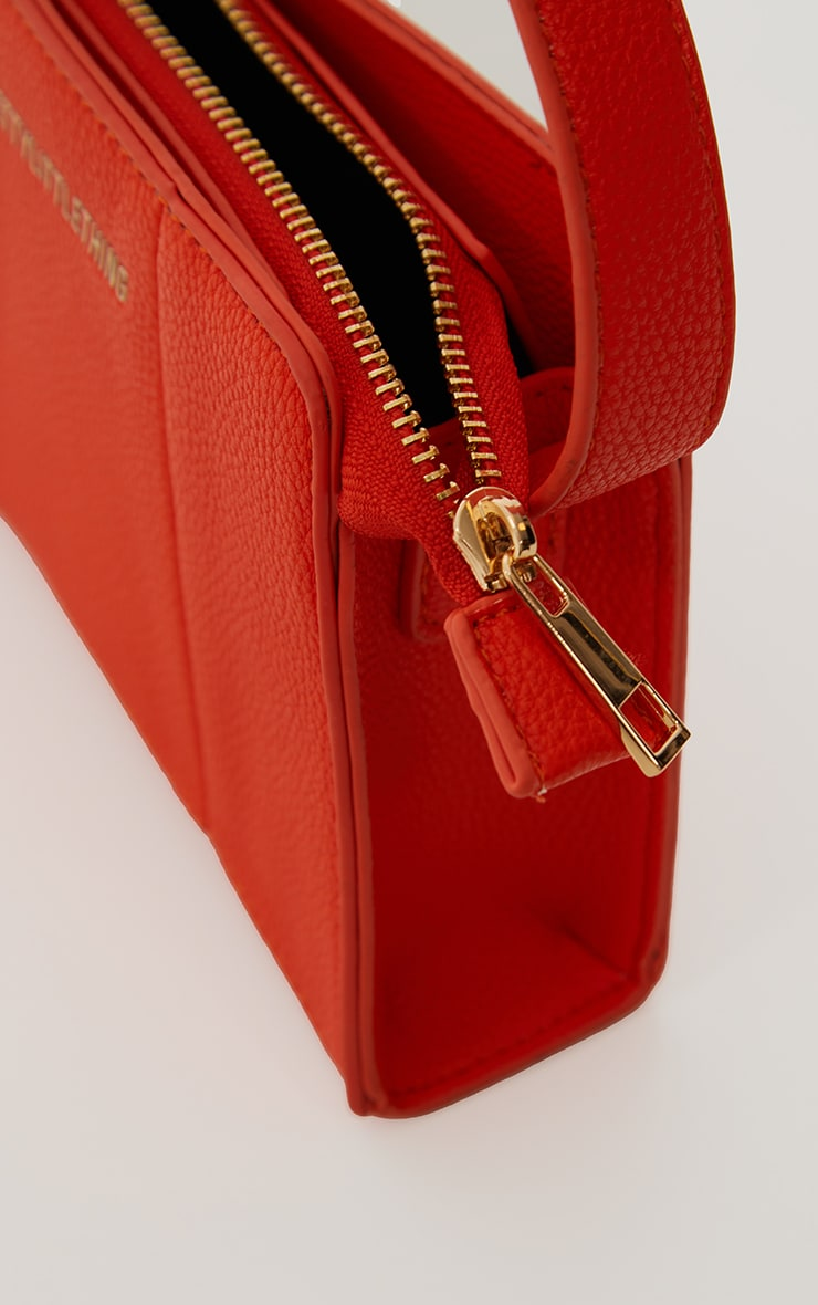 PRETTYLITTLETHING Orange Triangular Shoulder Bag 4
