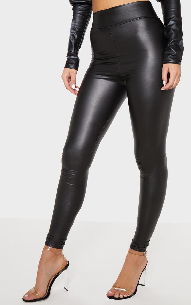 Legging noir taille haute effet mouillé 2