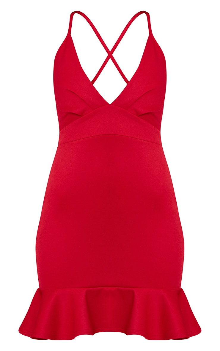 Red Strappy Frill Hem Bodycon Dress 3