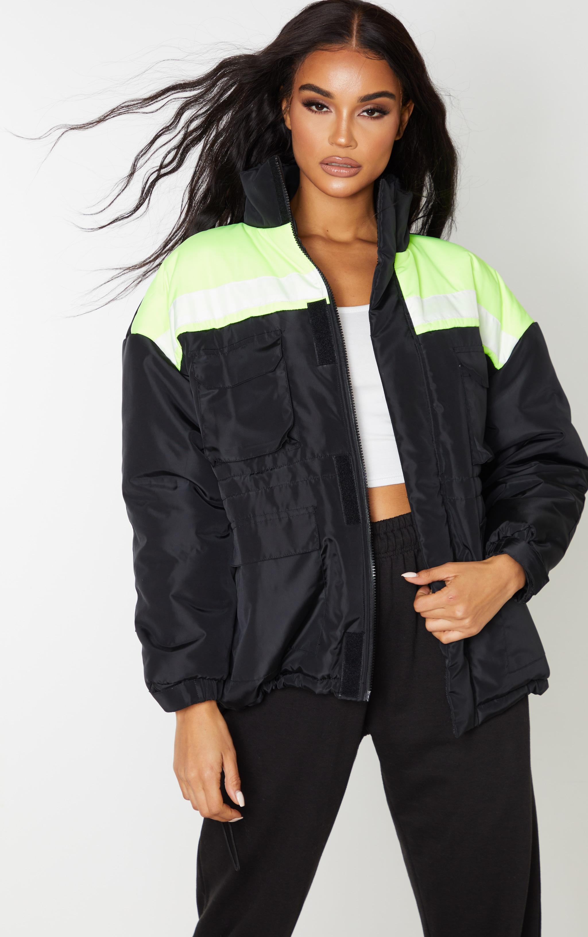 Black Padded Color Block Jacket 1