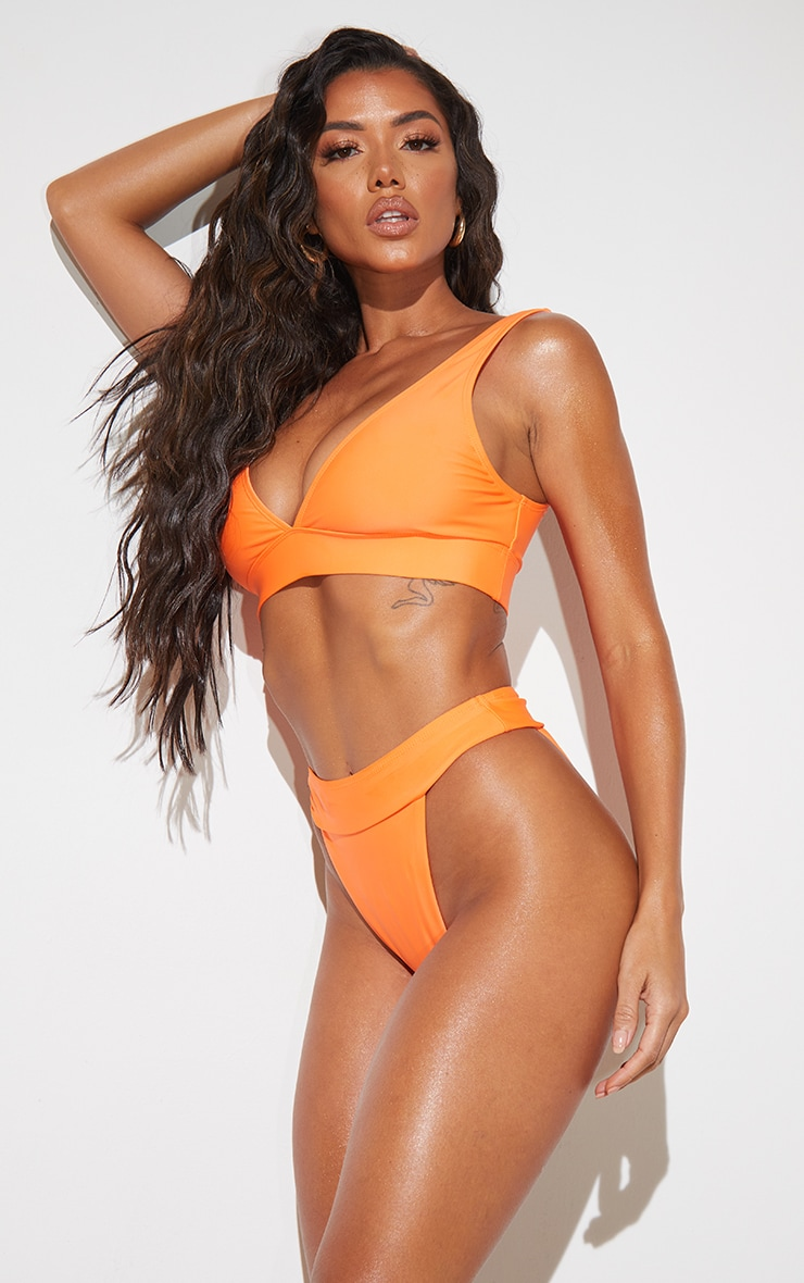 Recycled Orange Mix & Match Plunge Bikini Top 1