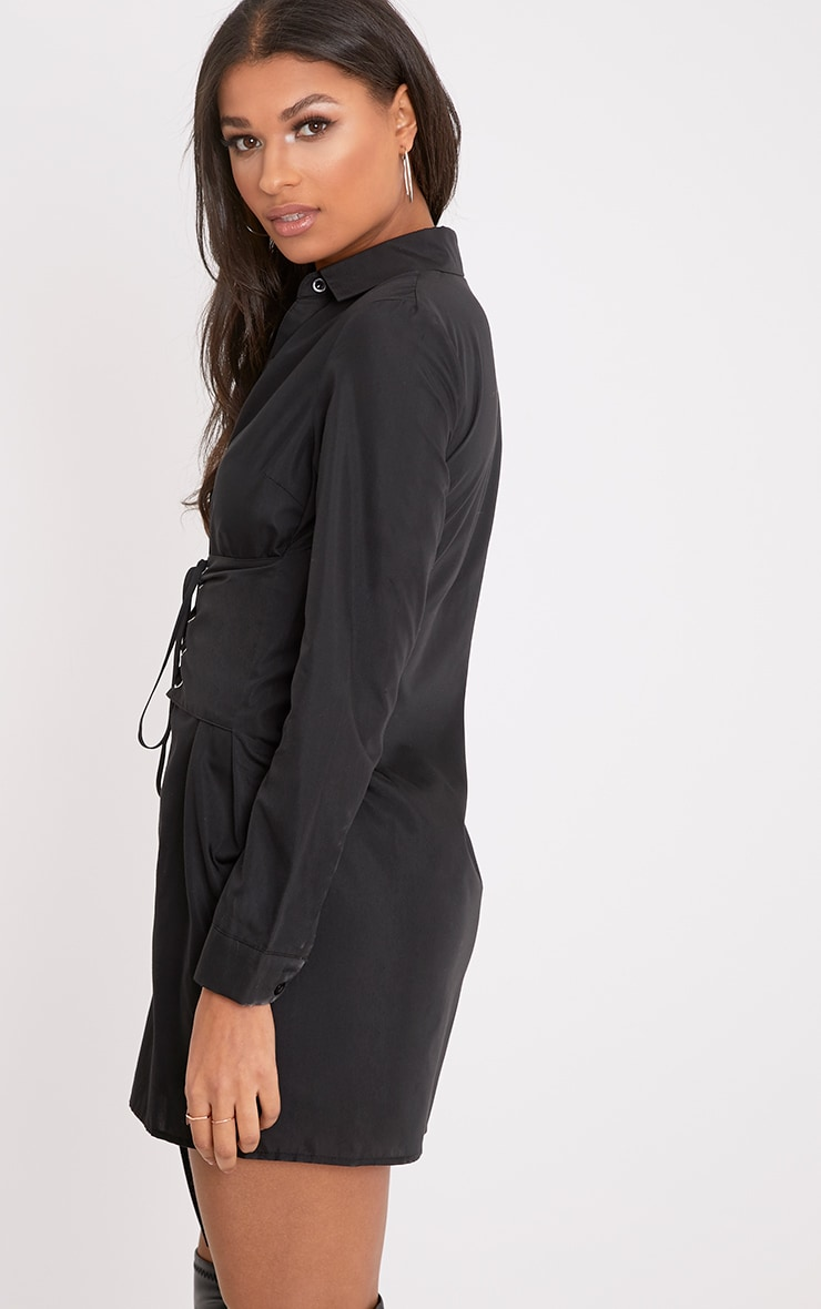 Willow Black Corset Lace Up Open Shirt Dress 2