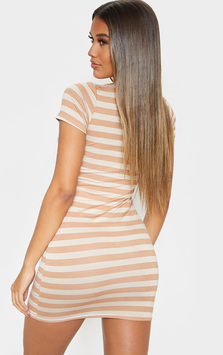 Nude Stripe Cut Neck Bodycon Dress 2