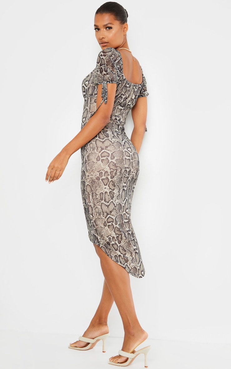 Stone Snake Print Mesh Short Sleeve Midi Dress 2