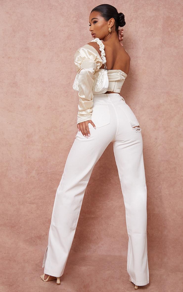Off White Split Hem Jeans With Bum Distress 1