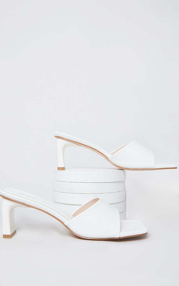 White Curved Mini Heel Square Toe Mules 4