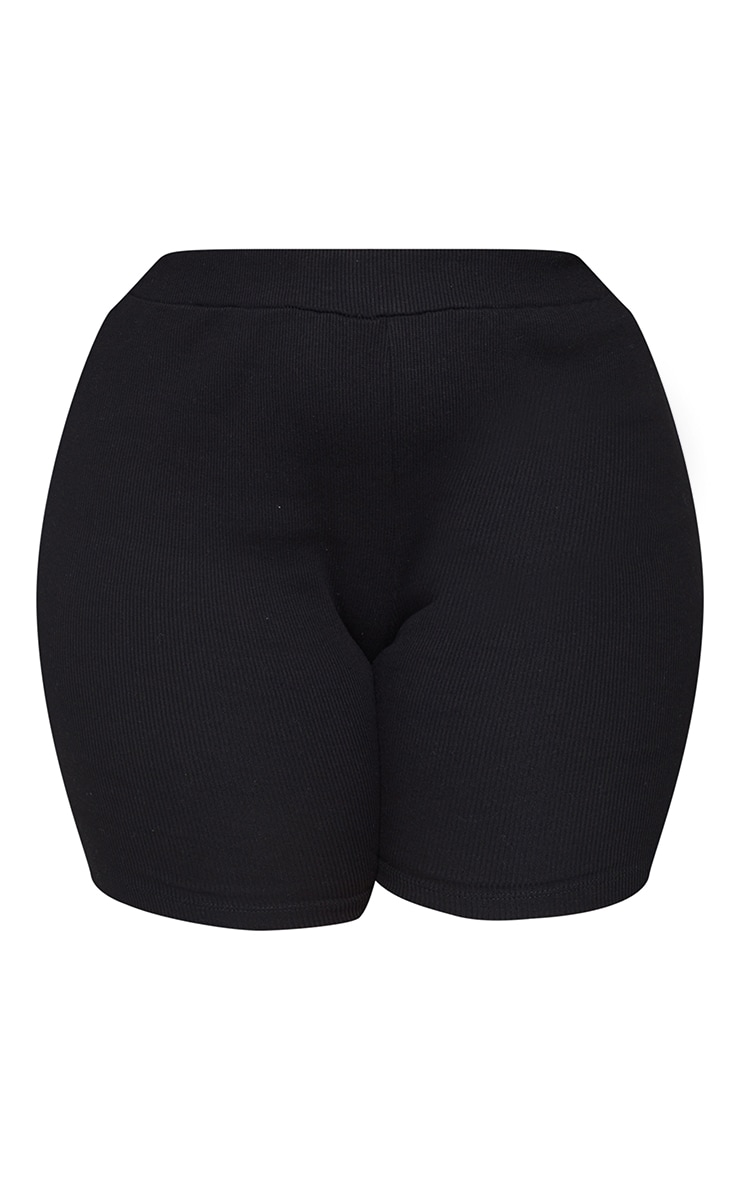 Plus Black Rib Cycle Shorts 6