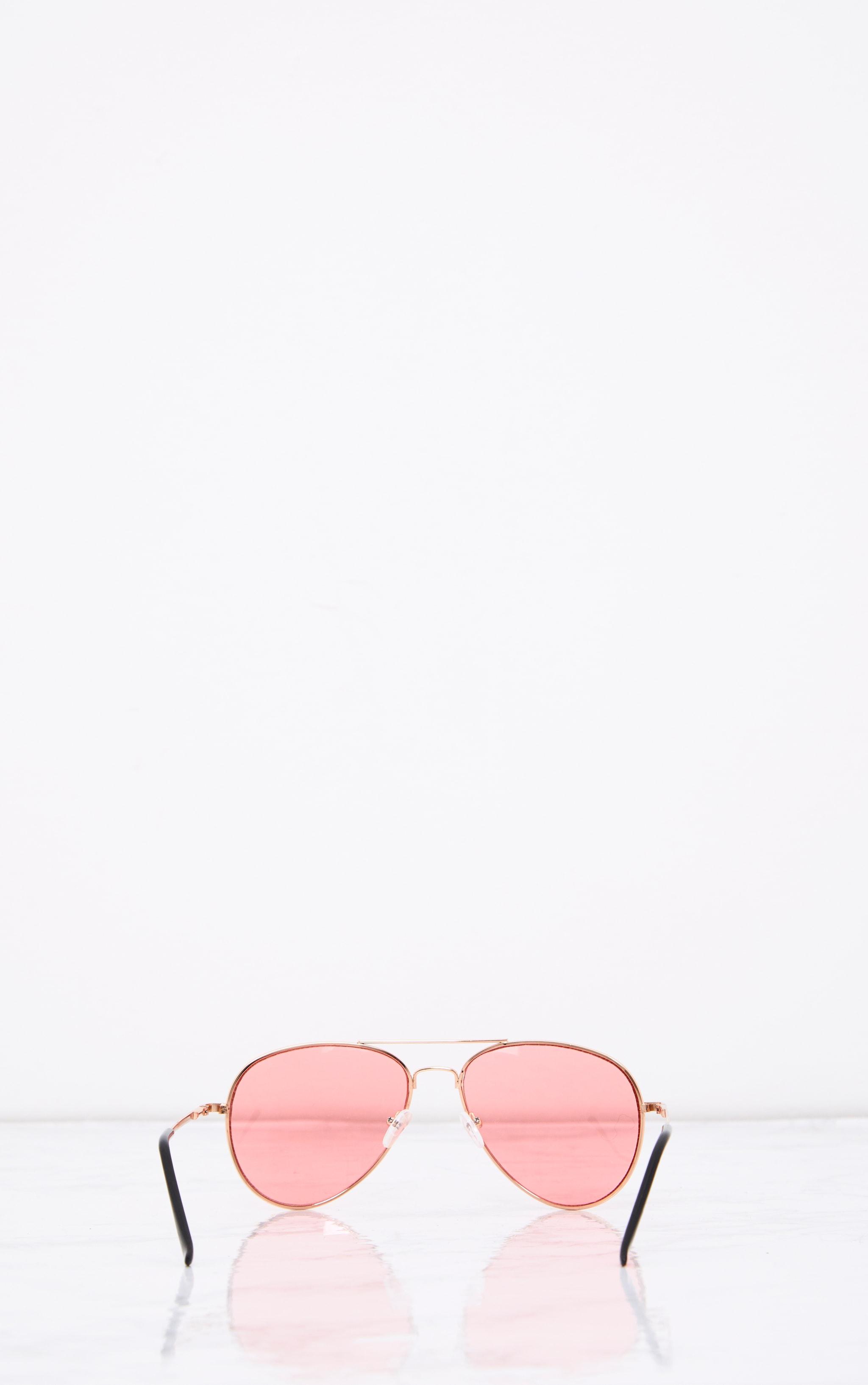 Kelie lunettes aviateur à verres teintés roses 4