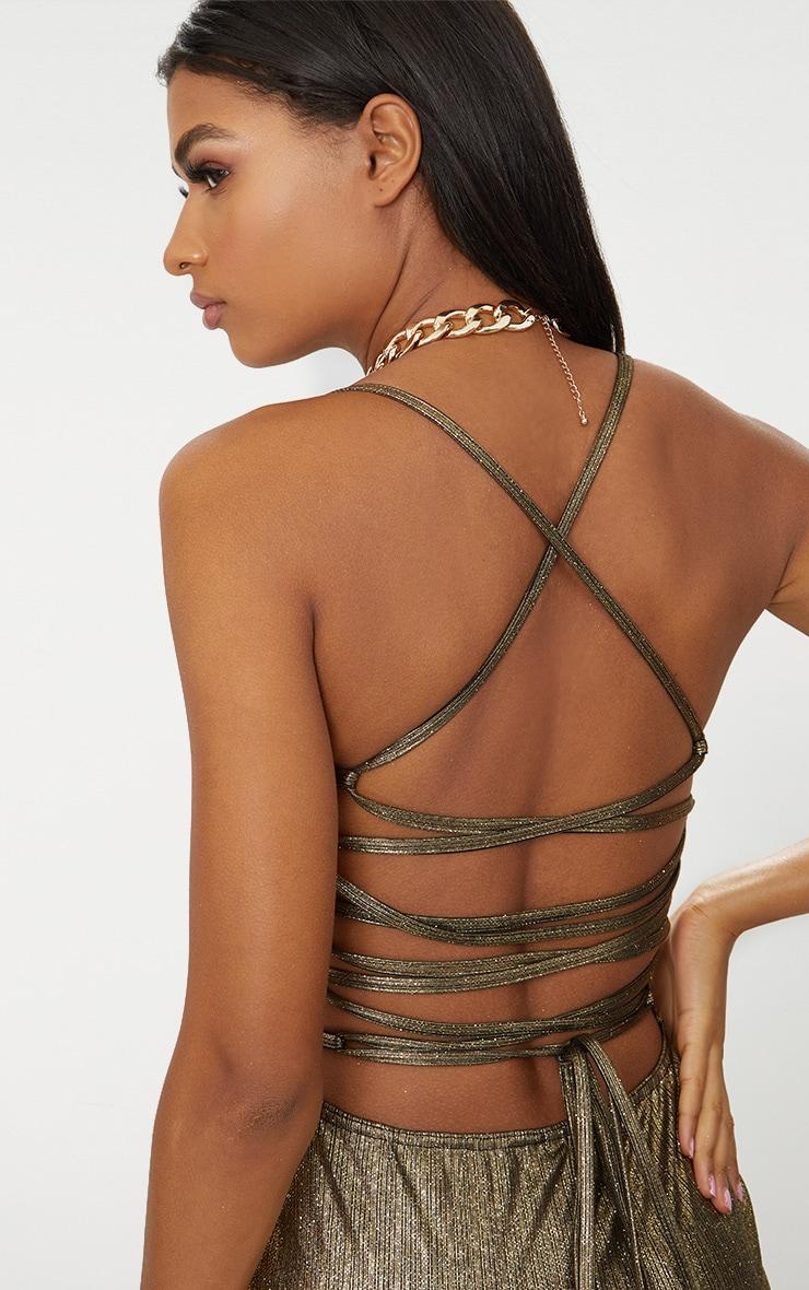 Gold Metallic Strappy Back Bodycon Dress  5