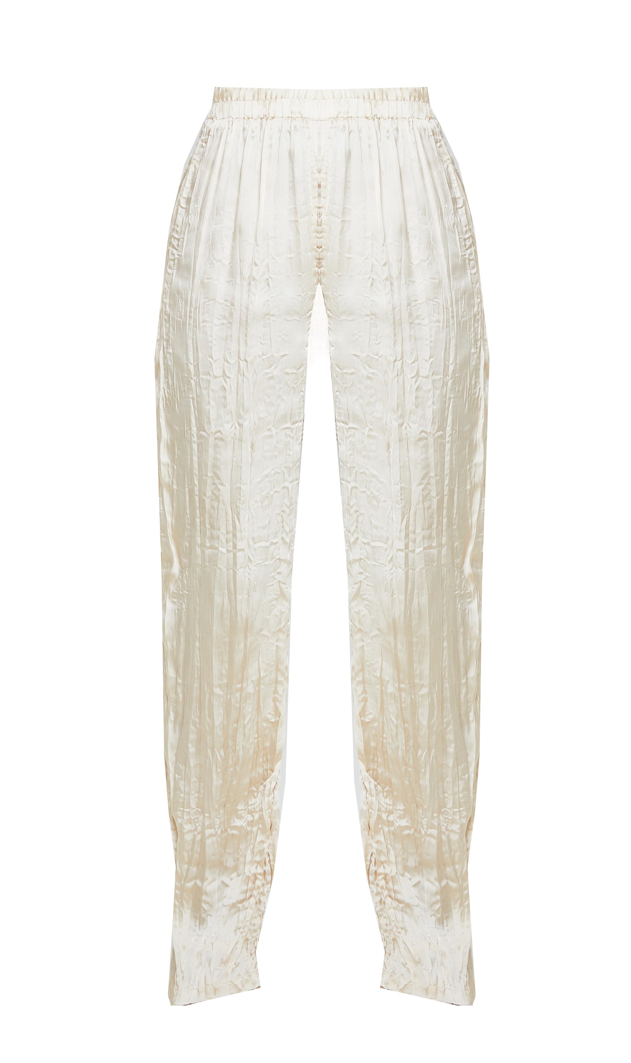 Cream Crinkle Effect Wide Leg Pants 5