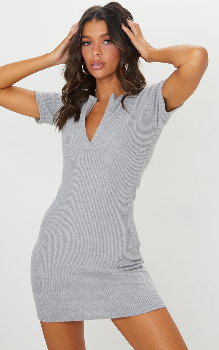 Grey Marl Brushed Rib Short Sleeve Button Front Bodycon Dress 1