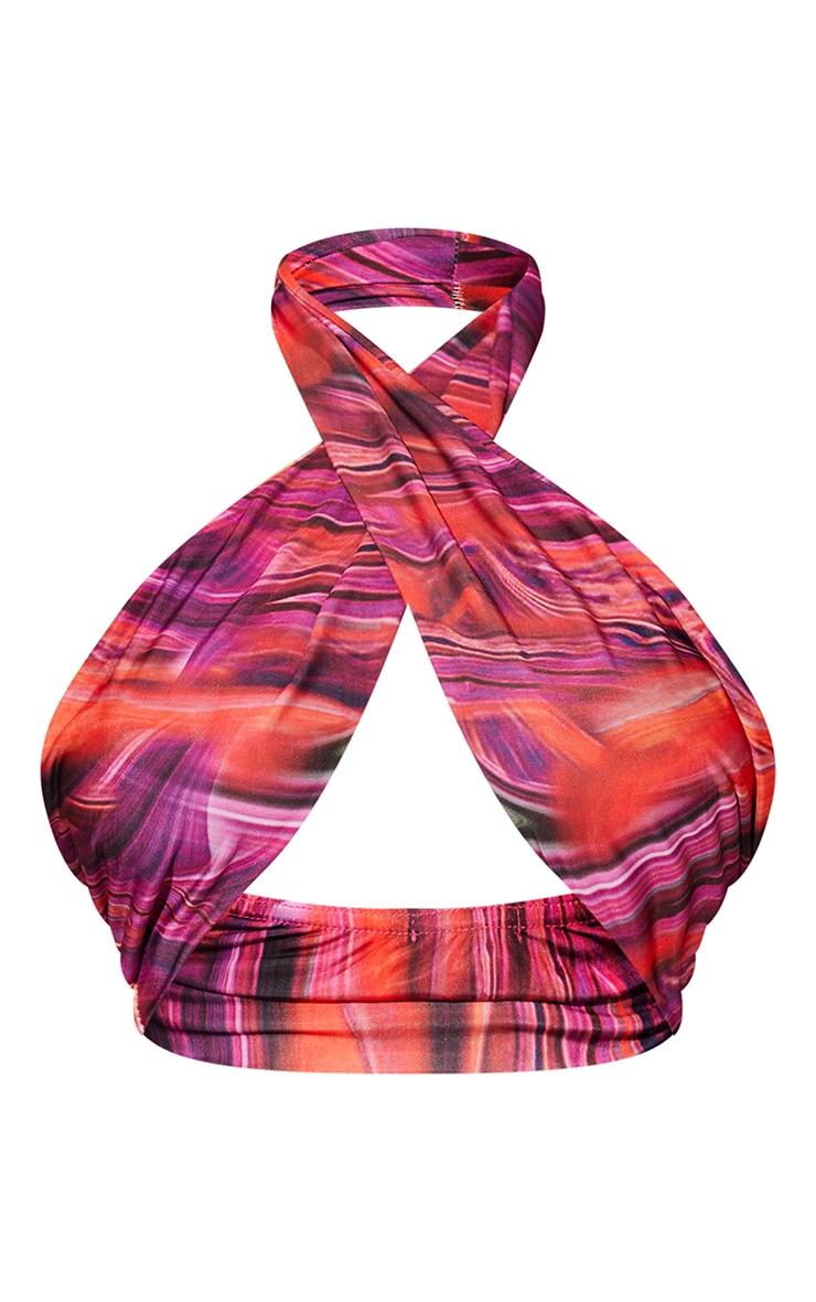 Bright Pink Abstract Print Slinky Cross Halterneck Underbust Bralet 5