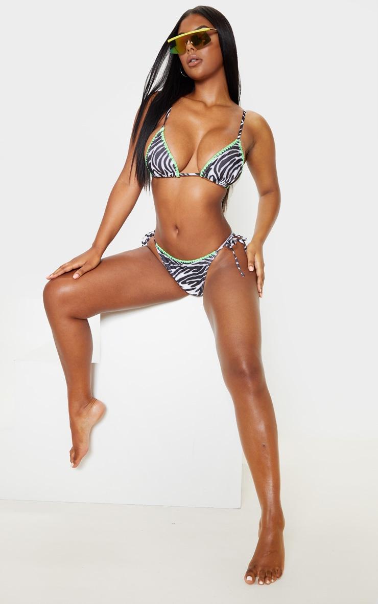 Zebra Fuller Bust Blanket Stitch Triangle Bikini Top 4