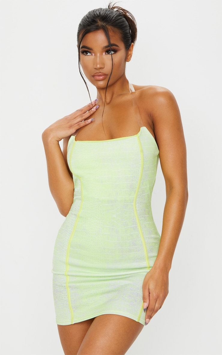 Lime Croc Print Binded Detail Clear Strap Bodycon Dress 1