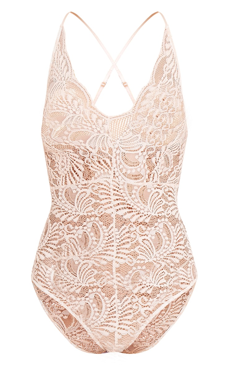 Lucille Nude Sheer Lace Cross Back Bodysuit 3