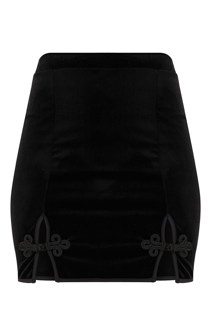 Black Velvet Ornate Double Split Mini Skirt  3