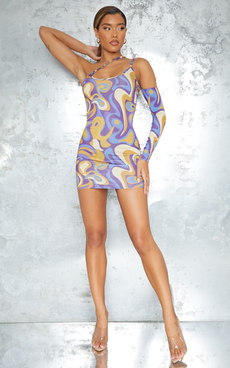 Purple Abstract Print Slinky Strap Detail One Shoulder Bodycon Dress 3
