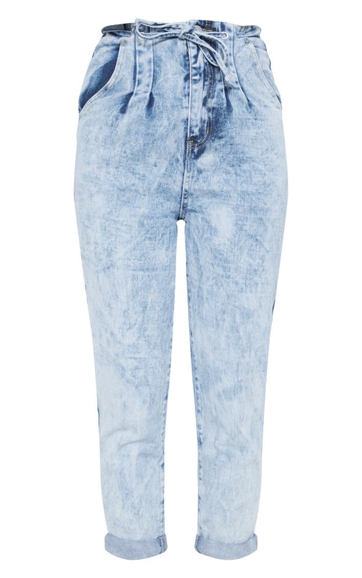 Mid Wash Turn Up Tie Waist Paperbag Jeans  3