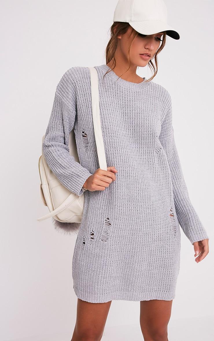 Nico robe pull surdimensionnée grise aspect vieilli 1