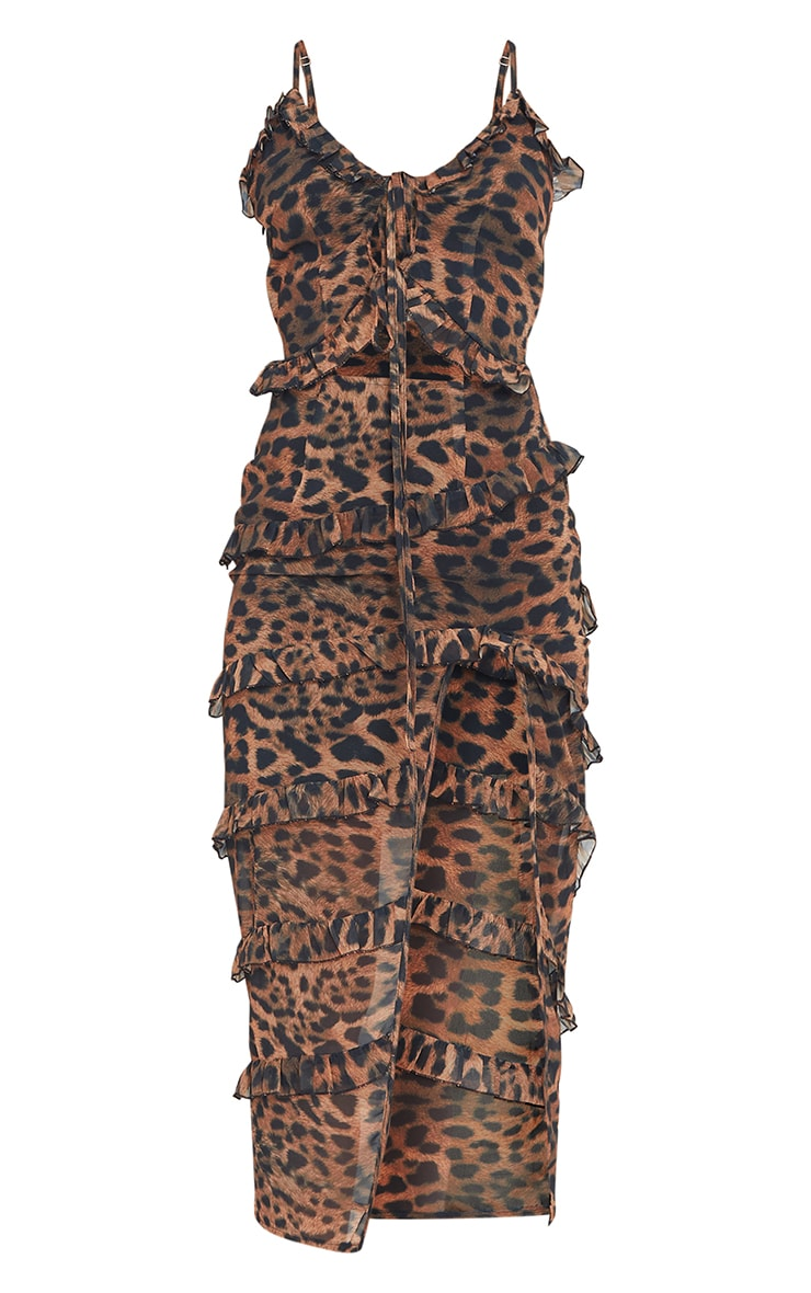Brown Leopard Print Tiered Ruffle Strappy Midaxi Dress 5