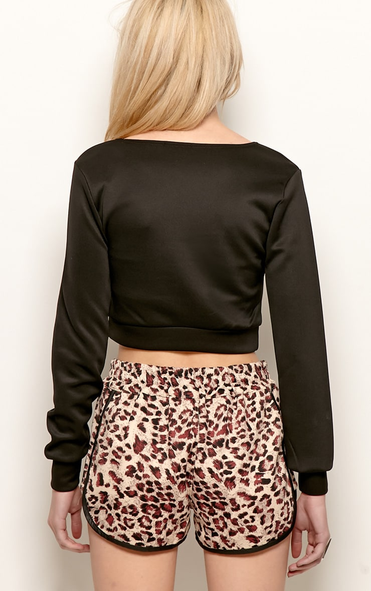 Grace Black Cropped Scuba Sweater 2