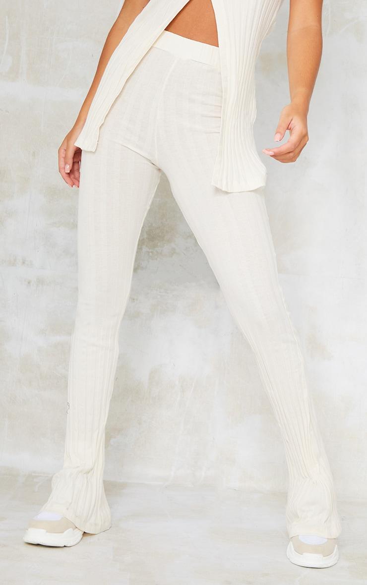 Cream Rib High Waist Skinny Flared Trousers 2