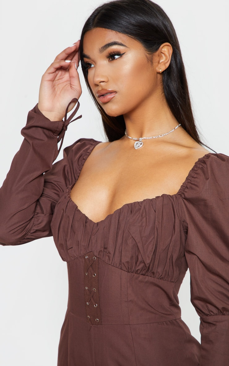 Chocolate Puff Sleeve Lace Up Waist Jumpsuit 5