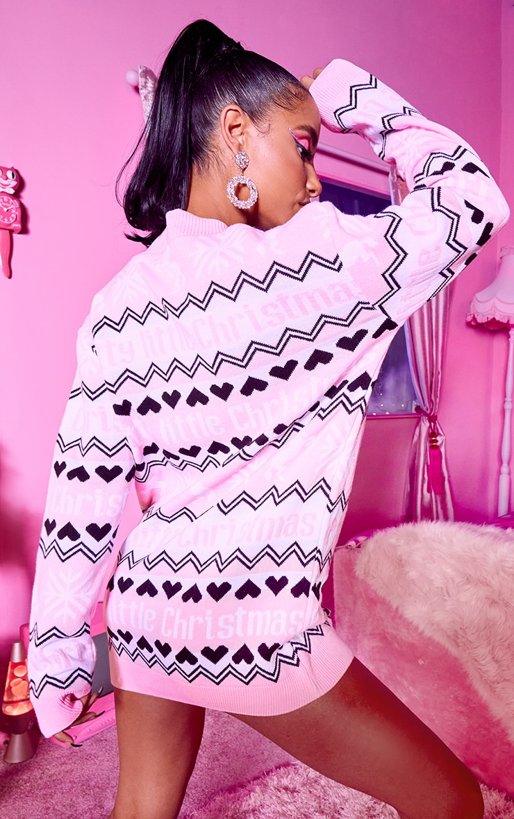 PRETTYLITTLETHING Pink Fairisle Xmas Cardigan 2