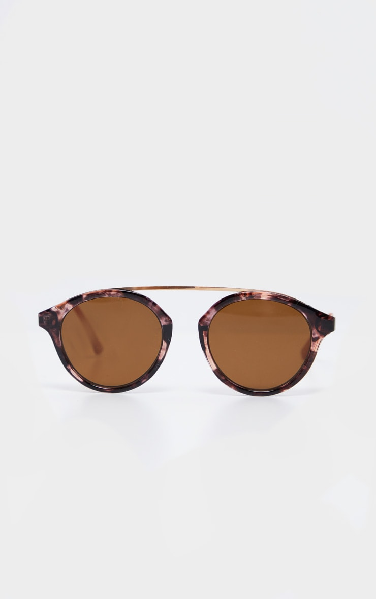 Peach Marble Effect Rose Gold Brow Bar Round Sunglasses           2