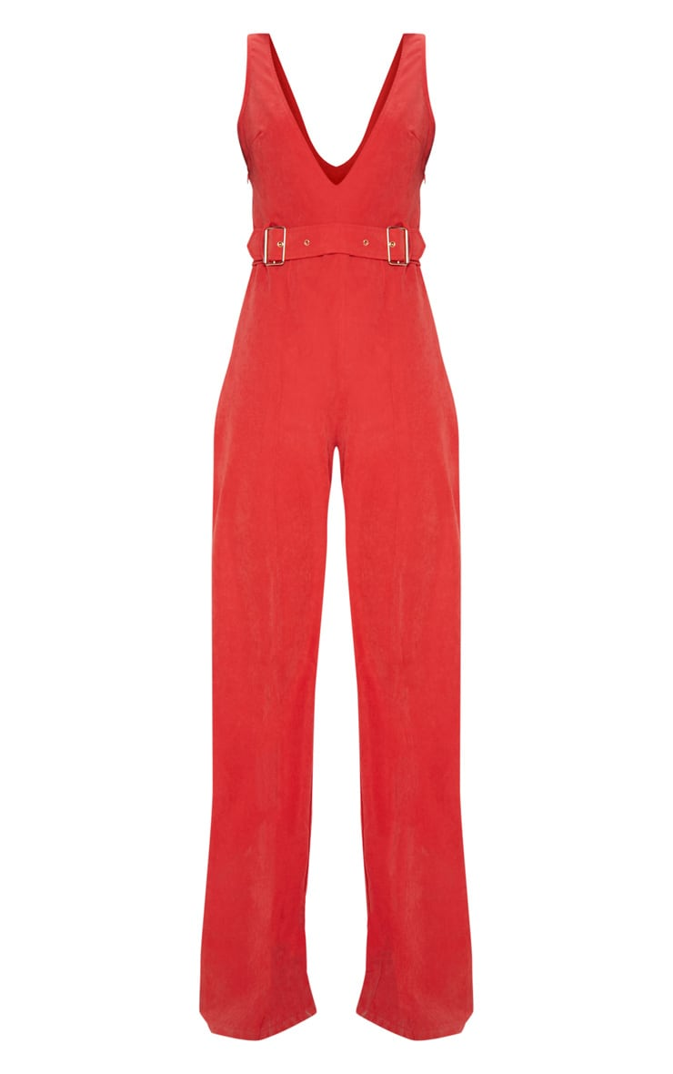 Red Soft Touch Belted Wide Leg Jumpsuit 3