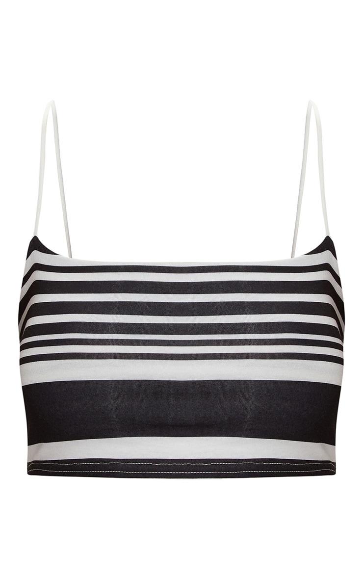 Monochrome Stripe Strappy Crop Top 3