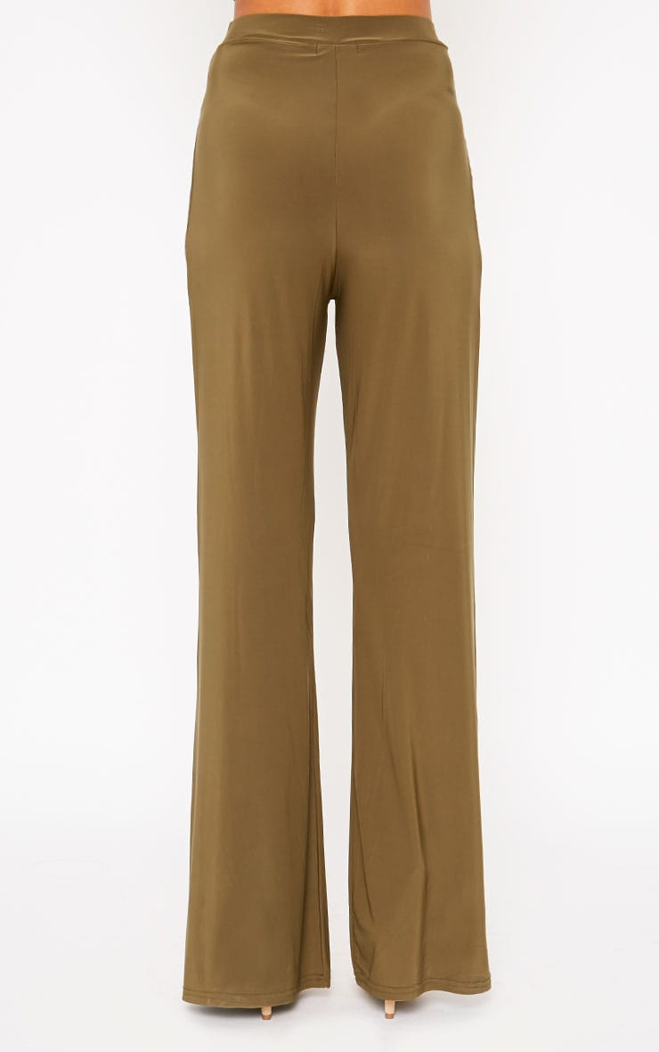 Remi Khaki Soft Touch Wide Leg Trousers 4