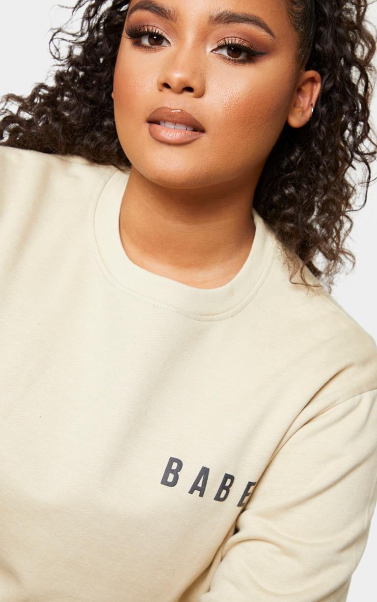 Plus Babe Sand Slogan Sweater 4