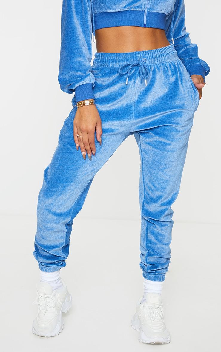 PRETTYLITTLETHING Shape Blue Velour Skinny Joggers 2