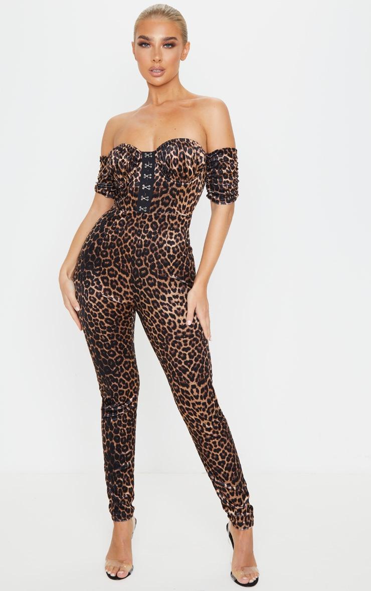 Tan Leopard Velvet Hook And Eye Detail Bardot Jumpsuit 1