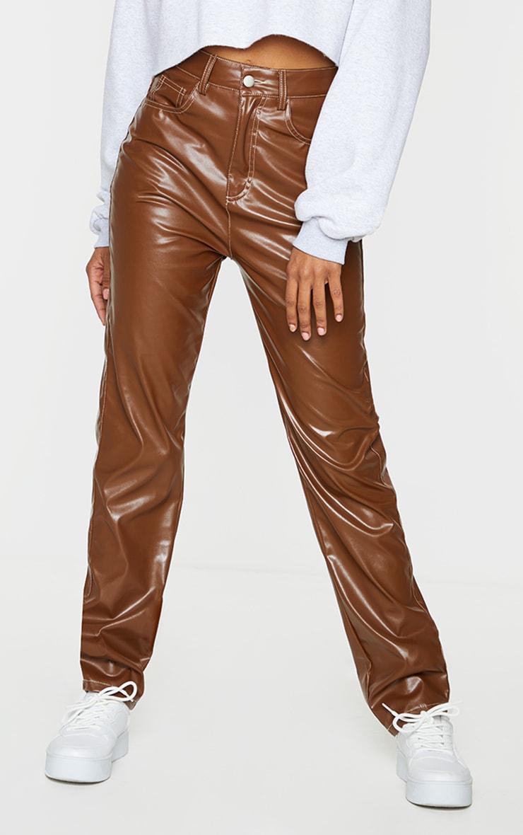 Pantalon similicuir marron chocolat à coutures contrastées 2