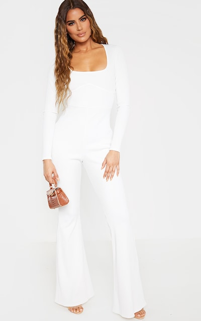 Tall Cream Wide Leg Flared Rib Jumpsuit