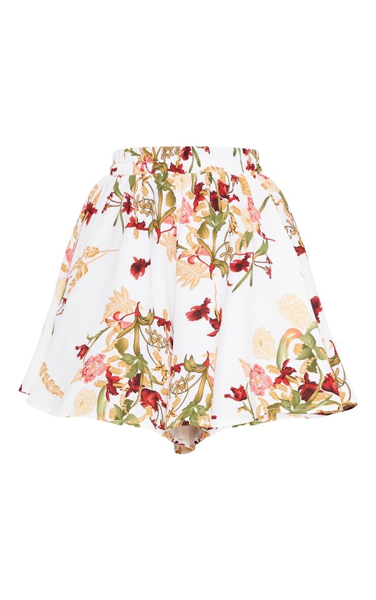 Petite White Oriental Floaty Shorts  3