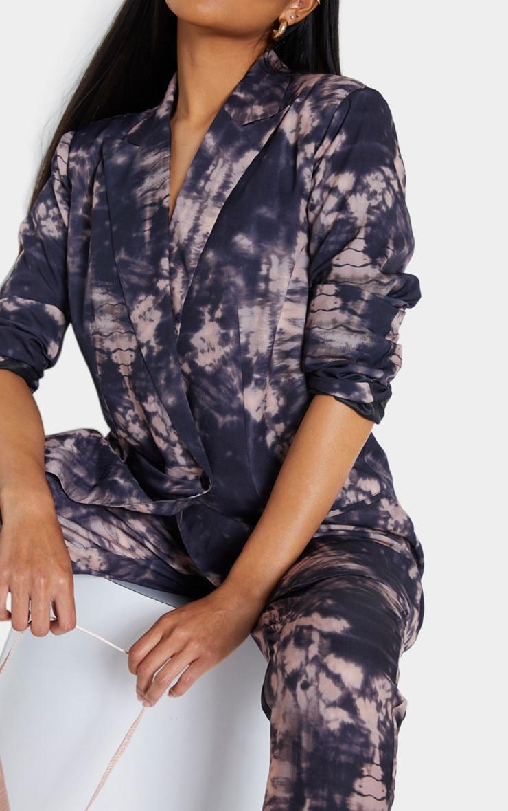 Grey Tie Dye Print Woven Oversized Double Breasted Blazer 4