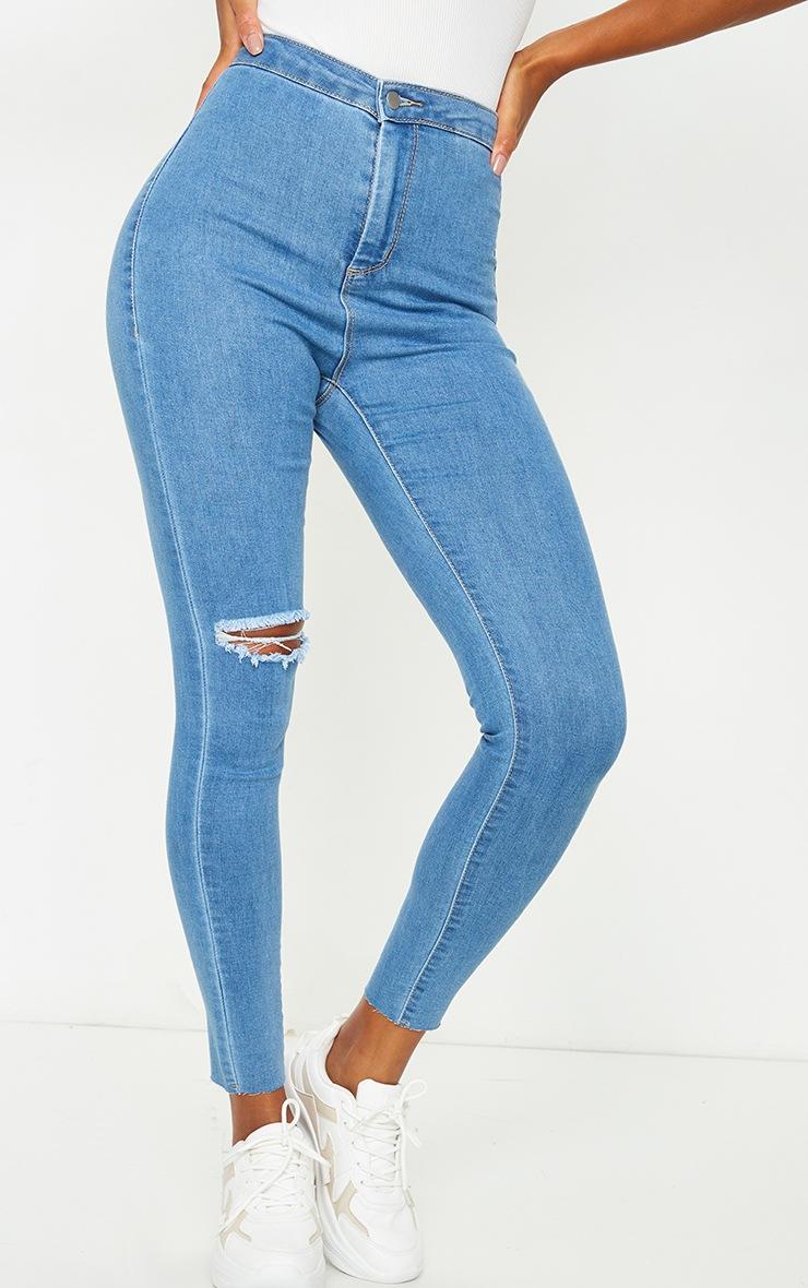PRETTYLITTLETHING Light Blue Wash Raw Hem Knee Rip Disco Skinny Jeans 2