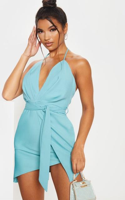 Dusty Turquoise Halterneck Wrap Bodycon Dress