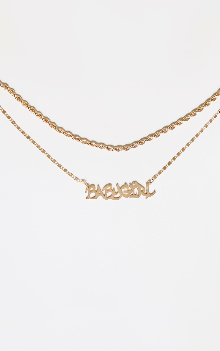 Gold Babygirl Graffiti Text Double Chain Necklace 3