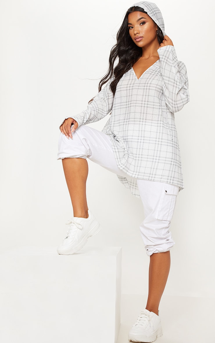 Grey Checked Hooded Shirt